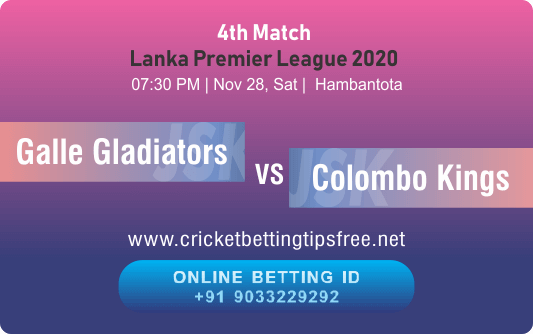 Cricket Betting Tips And Match Prediction For Galle Gladiators vs Colombo Kings 4th Match Tips With Online Betting Tips Cbtf Cricket-Free Cricket Tips-Match Tips-Jsk Tips