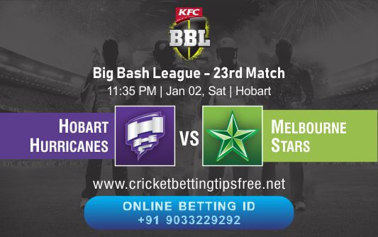 Cricket Betting Tips And Match Prediction For Hobart Hurricanes vs Melbourne Stars 23rd Match Tips With Online Betting Tips Cbtf Cricket-Free Cricket Tips-Match Tips-Jsk Tips