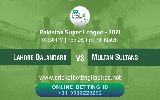 Cricket Betting Tips And Match Prediction For Lahore Qalandars vs Multan Sultans 7th Match With Online Betting Tips Cbtf Cricket-Free Cricket Tips-Match Tips-Jsk Tips