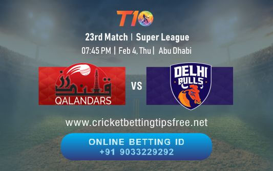 Cricket Betting Tips And Match Prediction For Qalandars vs Delhi Bulls 23rd Match Tips With Online Betting Tips Cbtf Cricket-Free Cricket Tips-Match Tips-Jsk Tips