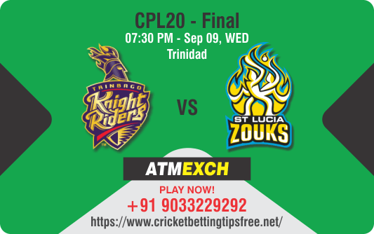 Cricket Betting Tips And Match Prediction For Trinbago Knight Riders vs St Lucia Zouks Final Match Prediction With Online Betting Tips Cbtf Cricket, Free Cricket Tips, Match Tips, Jsk Tips